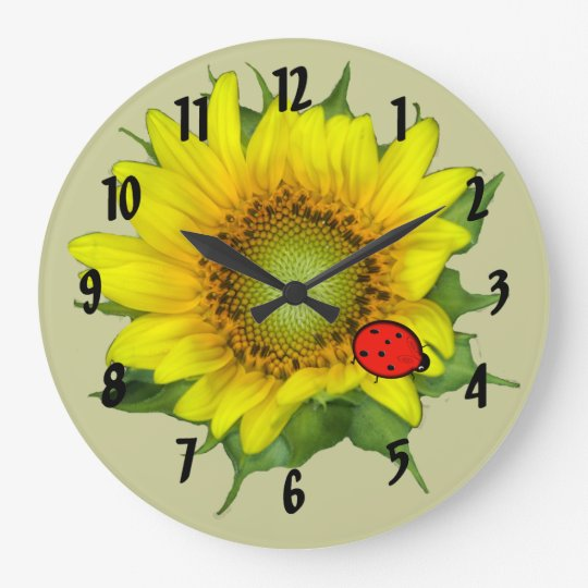 Sunflower with Ladybug Wall Clock