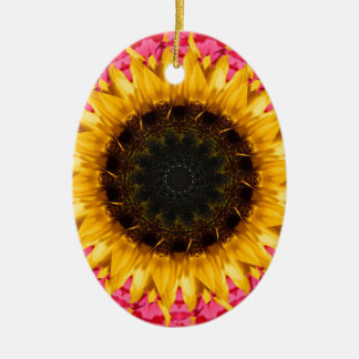 Sunflower with Pink Double-Sided Oval Ceramic Christmas Ornament