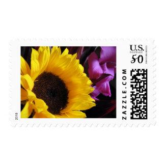Sunflower with Purple Iris Postage