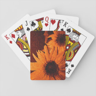 Sunflower with Red Background Oil Painting Poker Deck