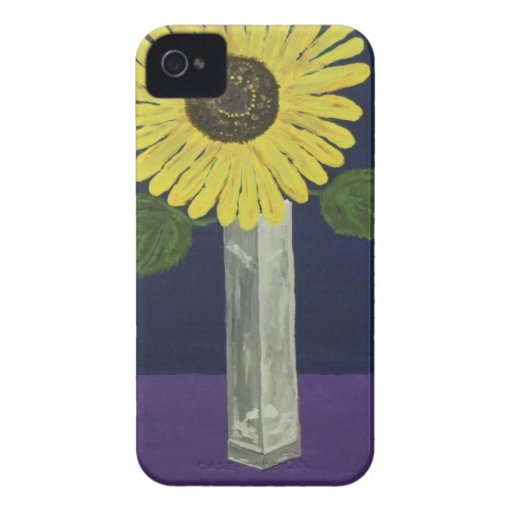 Sunflower with square vase still life iPhone 4 Case-Mate cases