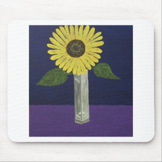Sunflower with square vase still life mouse pad