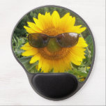 "Sunflower with sunglasses mousepad. gel mouse pad<br><div class=""desc"">Fun,  sunflower with sunglasses and a smile is featured on this gel mousepad.</div>"