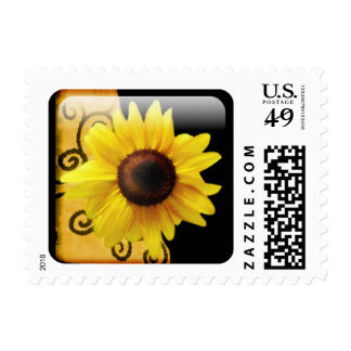 Sunflower with Swirls and Black Postage Stamp