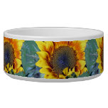 Sunflower with water droplets dog bowls
