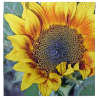 Sunflower with water droplets printed napkins