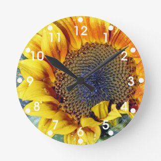 Sunflower with Water Droplets Round Clock
