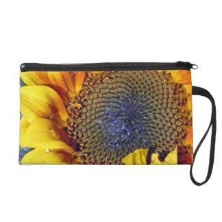 Sunflower with Water Droplets Wristlet Purse