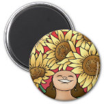 Sunflower Woman -- Bloom! Fridge Magnet