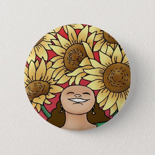 Sunflower Woman -- Bloom! Pinback Button