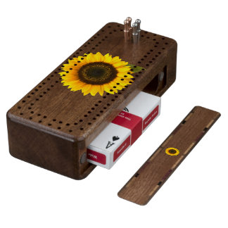 Sunflower Wood Cribbage Board