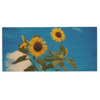 Sunflower Wood Flash Drive