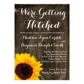 Sunflower Wood Getting Hitched Wedding Invitations Invites