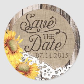 Sunflower Wood Lace Rustic Save the Date Label