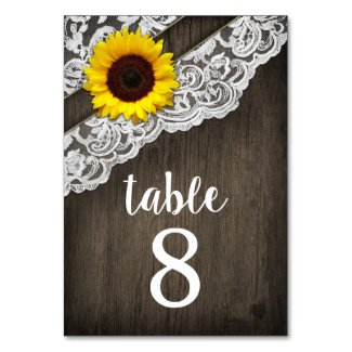 Sunflower Wood Lace Wedding Table Number Cards