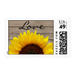 Sunflower Wood Love Wedding Invitation Stamp