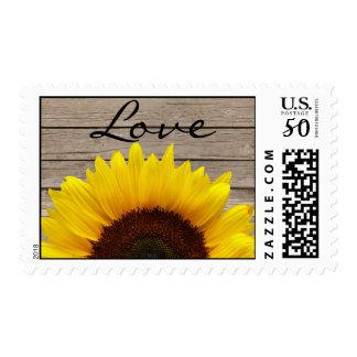 Sunflower Wood Love Wedding Invitation Stamp