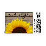 Sunflower Wood Love Wedding RSVP Stamp