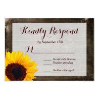 Sunflower Wood Rustic Country Wedding RSVP Cards (<em>$2.17</em>)