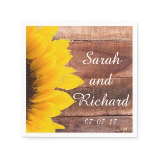 Sunflower Wood Rustic Wedding Paper Napkins