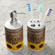 Sunflower Wooden Barrel Look - Monogram Soap Dispenser & Toothbrush Holder