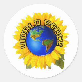 Sunflower world peace classic round sticker