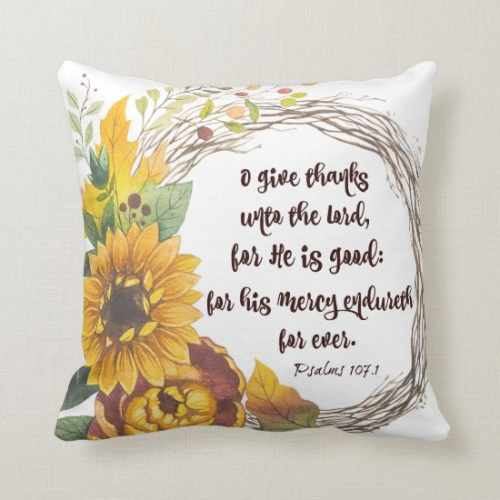 Sunflower Wreath with Give Thanks Bible Verse Throw Pillow