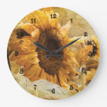 Sunflower Yellow Beautiful Country Floral Design Large Clock