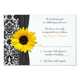 Sunflower Yellow Black Damask Wedding RSVP Reply Card