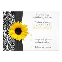 Sunflower Yellow Black Damask Wedding RSVP Reply Personalized Announcement (<em>$1.85</em>)