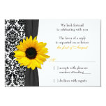 Sunflower Yellow Black Damask Wedding RSVP Reply 3.5x5 Paper Invitation Card