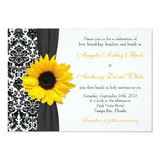 Sunflower Yellow Black White Damask Wedding Card