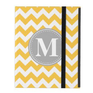 Sunflower Yellow Chevron Pattern Grey Monogram iPad Case