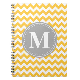 Sunflower Yellow Chevron Pattern Grey Monogram Notebook