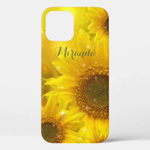 Sunflower Yellow Flower Floral Personalized iPhone 12 Case