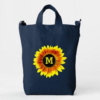 Sunflower Yellow Flower Garden Floral Monogram Duck Bag