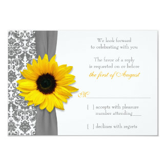 Sunflower Yellow Grey Damask Wedding RSVP Reply Card