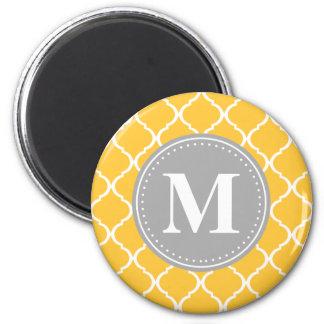 Sunflower Yellow Moroccan Lattice Grey Monogram 2 Inch Round Magnet