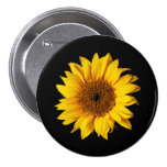 Sunflower Yellow on Black - Customized Sun Flowers 3 Inch Round Button