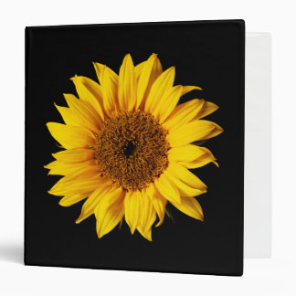 Sunflower Yellow on Black - Customized Sun Flowers 3 Ring Binder