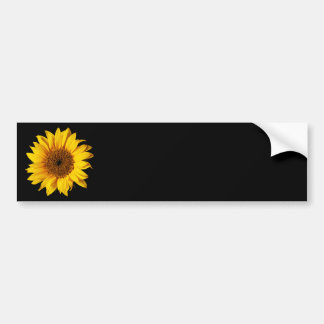 Sunflower Yellow on Black - Customized Sun Flowers Car Bumper Sticker