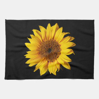 Sunflower Yellow on Black - Customized Sun Flowers Hand Towels