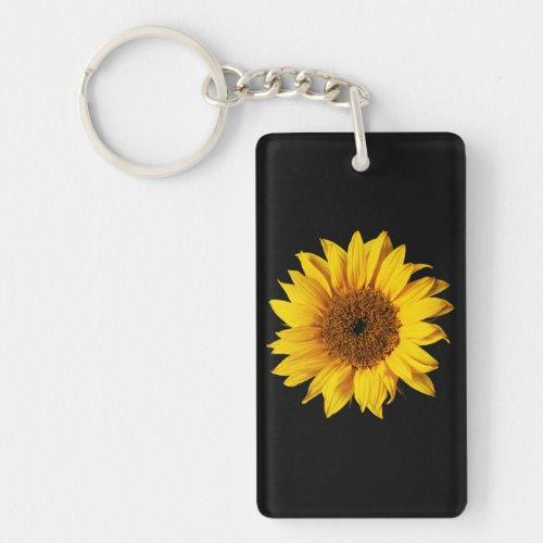 Sunflower Yellow on Black - Customized Sun Flowers Keychain