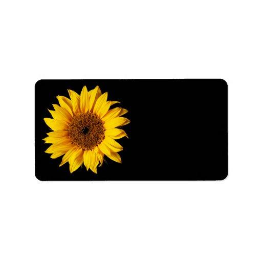 Sunflower Yellow On Black Customized Sun Flowers Label