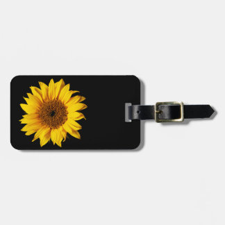 Sunflower Yellow on Black - Customized Sun Flowers Tags For Bags