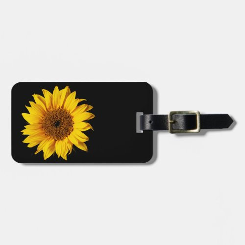 Sunflower Yellow on Black - Customized Sun Flowers Luggage Tag
