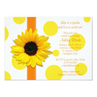 Sunflower Yellow Orange Polka Dot Bridal Shower Card