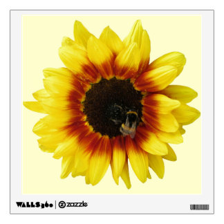 Sunflower yellow Orange with Bumble Bee and Pollen Wall Decal