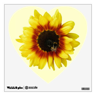 Sunflower yellow Orange with Bumble Bee and Pollen Wall Sticker