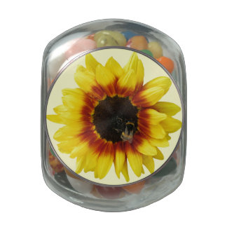 Sunflower yellow Orange with Bumble Bee Candy Jar Glass Candy Jar